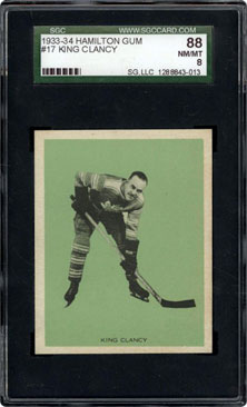 1933-34 Hamilton Gum #17 King Clancy SGC 88 NM/MT 8